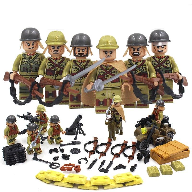 6pcs WW2 Military Chinese VS Japanese Army Building Brick Mini Toy Figure Compatible Legoinglys Battle Model Block Toys