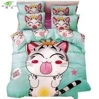 Japan anime cheese cat light blue cartoon bedding sets bedlinen Twin Full Queen Size 3/4pcs duvet cover+bedsheet+pillowcase