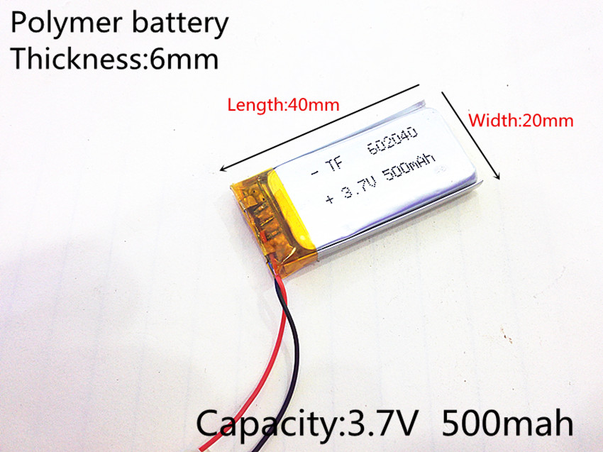 3.7V 500mAh 602040 Lithium Polymer Li-Po li ion Rechargeable Battery cells For Mp3 MP4 MP5 GPS PSP mobile bluetooth 3 7v 300mah battery 402530 lithium polymer li po li ion rechargeable battery for mp3 mp4 mp5 gps psp mobile electronic part