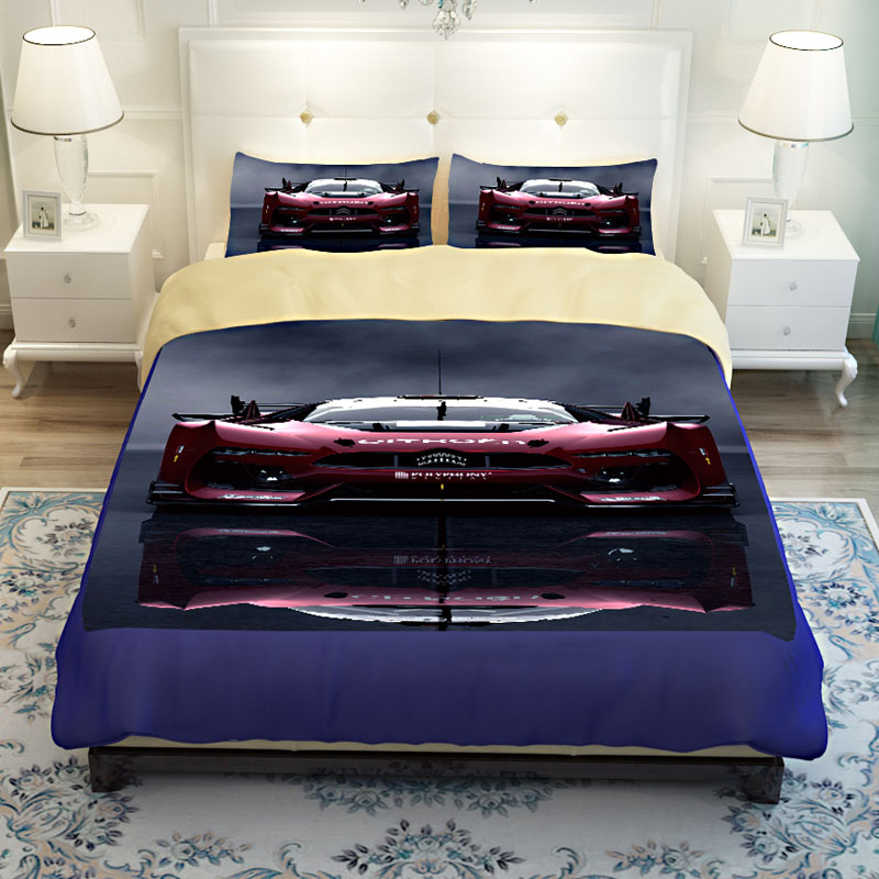 Luxury Race Car Print Men Bedding Sets Duvet Cover Bedsheets Twin Queen  King Size Soft Polyester