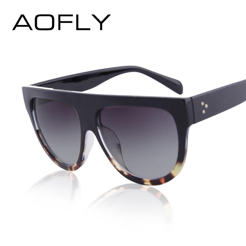 Aofly 2017 Fashion Sunglasses Women Flat Top Style