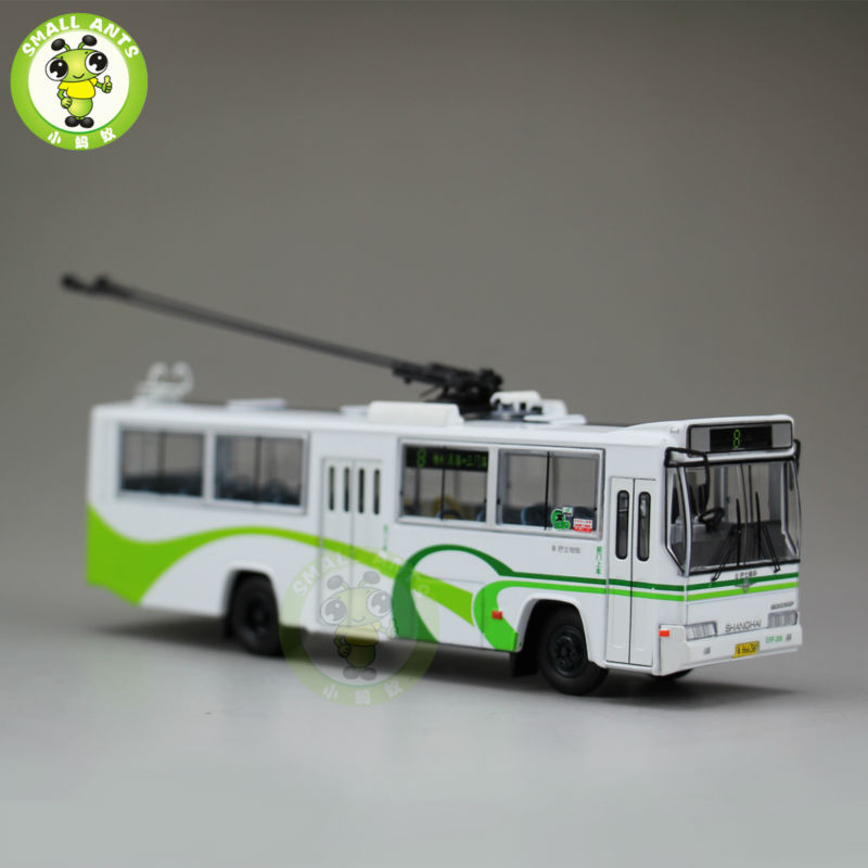 1:76 Scale ShangHai Brand Trolleybus Bus NO.8 Diecast Bus Car Model 1 43 ankai bus sightseeing tour of london bigbus big bus diecast model bus open top