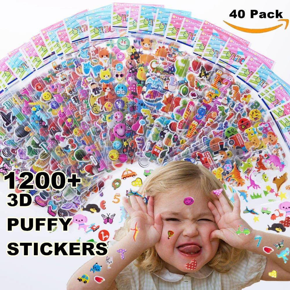 Kids Stickers 1200+, 40 Different Sheets, 3D Puffy Stickers For Kids, Bulk Stickers For Girl Boy Birthday Gift, Scrapbooking