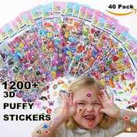 Pegatinas para niños 1200 +, 40 sábanas diferentes, pegatinas hinchadas en 3D para niños, pegatinas a granel para regalo de cumpleaños de niña, Scrapbooking