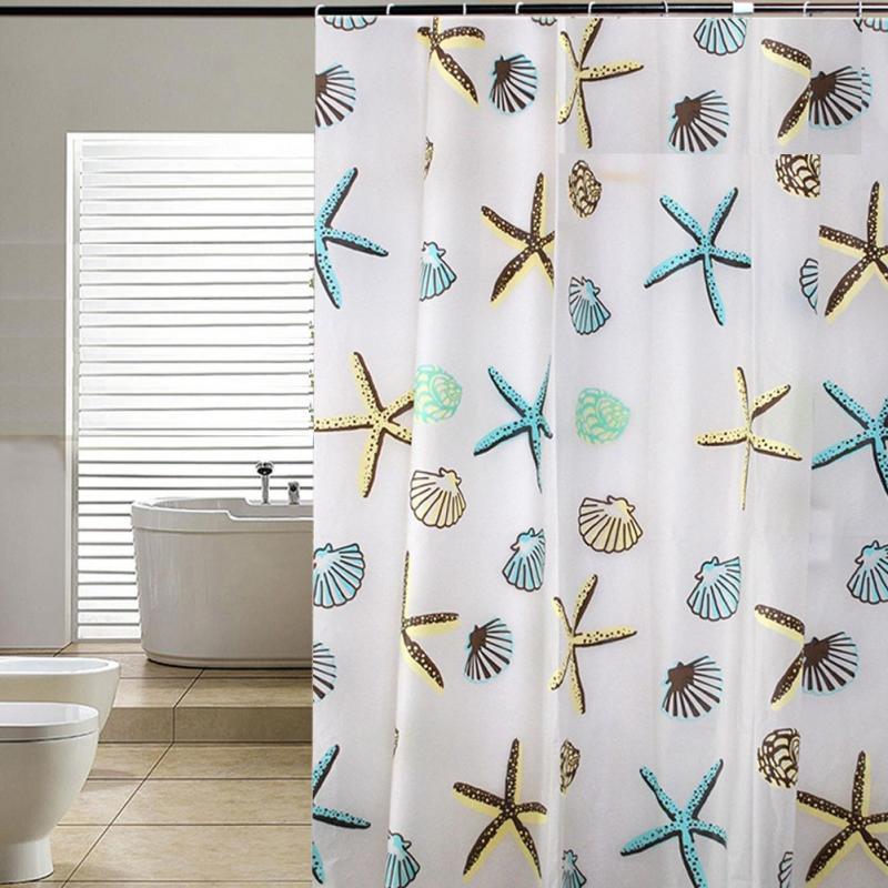 Seashell Starfish Pattern Shower Curtain Bathroom WaterProof Mildewproof  71