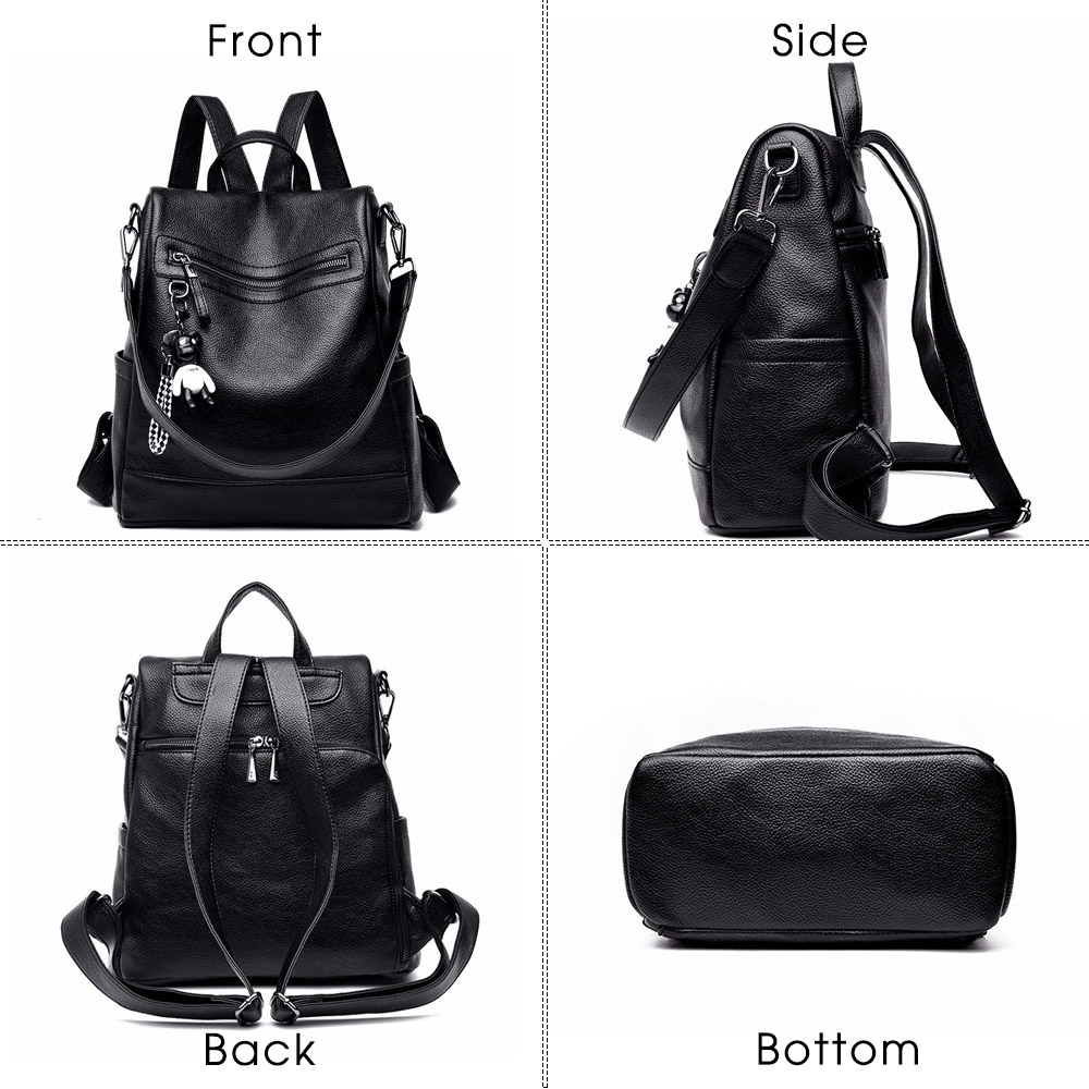 Image 4 - Herald Fashion Women Backpack for School Style Leather Student Bag For College Simple Design Women Casual Daily Packs mochilaBackpacks   -