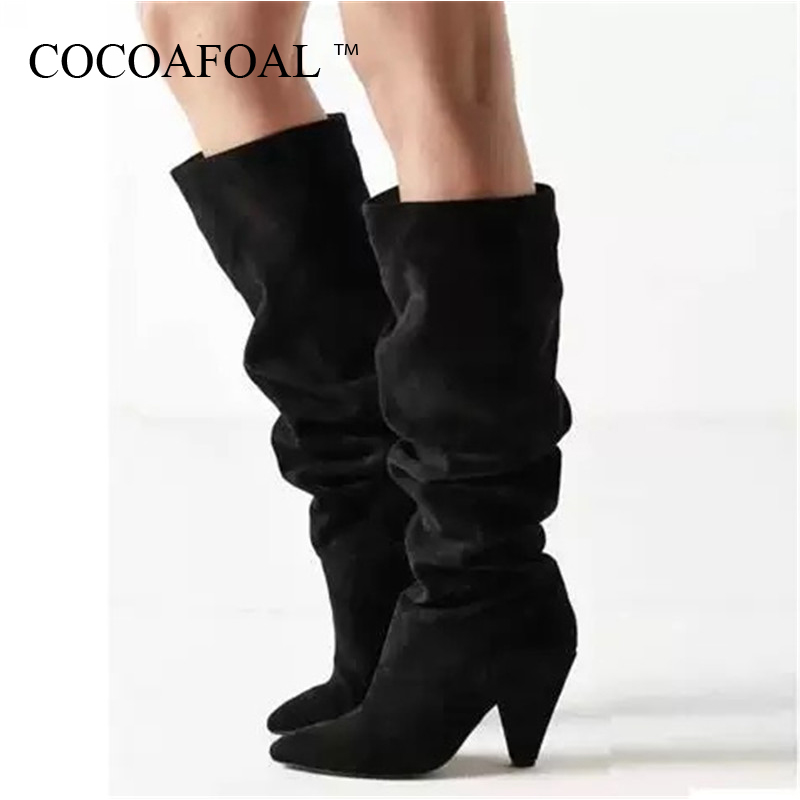 c8b59406fa7 COCOAFOAL Women's Cowboy Boots Knee High Boots Woman Shoes Fashion Sexy  Mid-Calf Cowboy Boots Pointed Toe Black Green Pleated