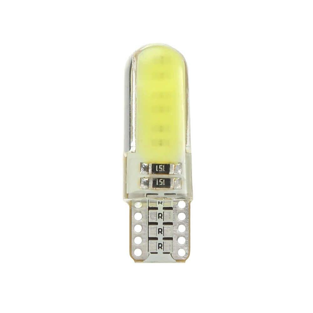 1 unidad T10 W5W LED luz interior del coche COB silicona auto señal lámpara 12V 194 501 bombilla de estacionamiento de cuña lateral para el estilo del coche lada