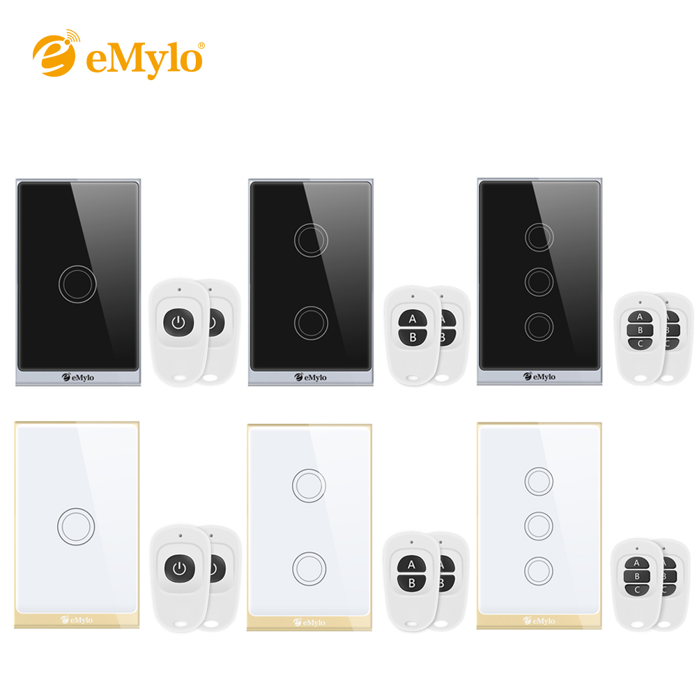 eMylo Smart Wall Light Switch Touch Pannel US Plug 1/2/3 Gang WiFi RF/APP/Touch Control Timing Work with Alexa Google Assistant