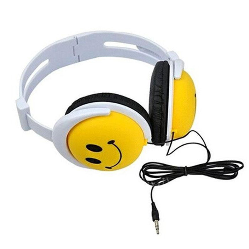 Cartoon Smile Face Girls Boys Children Kids Foldable 3 5mm Wired Headphones Earphone overhead headband headset