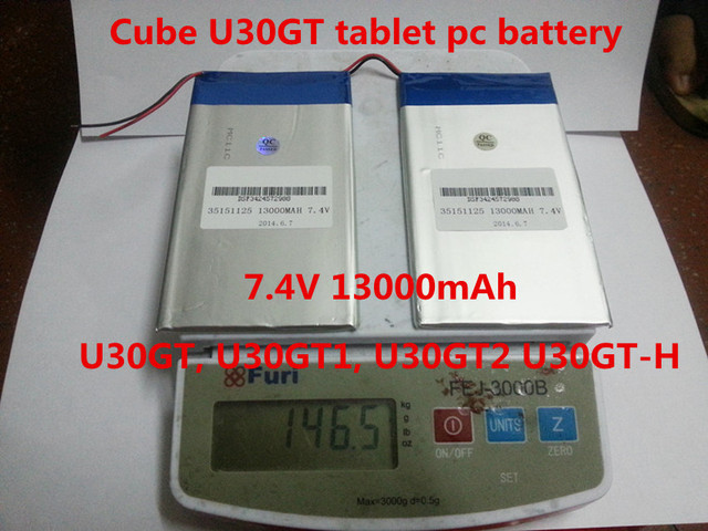 7.4V 13000mAh  DIY Cube U30GT, U30GT1, U30GT2 dual four-core tablet pc Rechargeable batteries 33161125 Size:3.5 * 151 * 125 mm