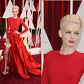 Dorith Mous красный цвет джерси тафта знаменитости платья жемчужина вырез с длинными рукавами и боковыми разрезами 2015 оскар платья