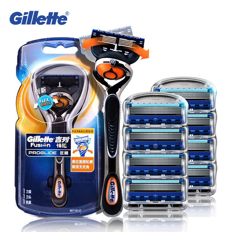 Gillette Fusion Shaving Razor Proglide Flexball Shaving Razor Blades For Men Brands Shavers Safety Razor 1 Holder+9 Blades gillette shaving razor blades for men 4 count