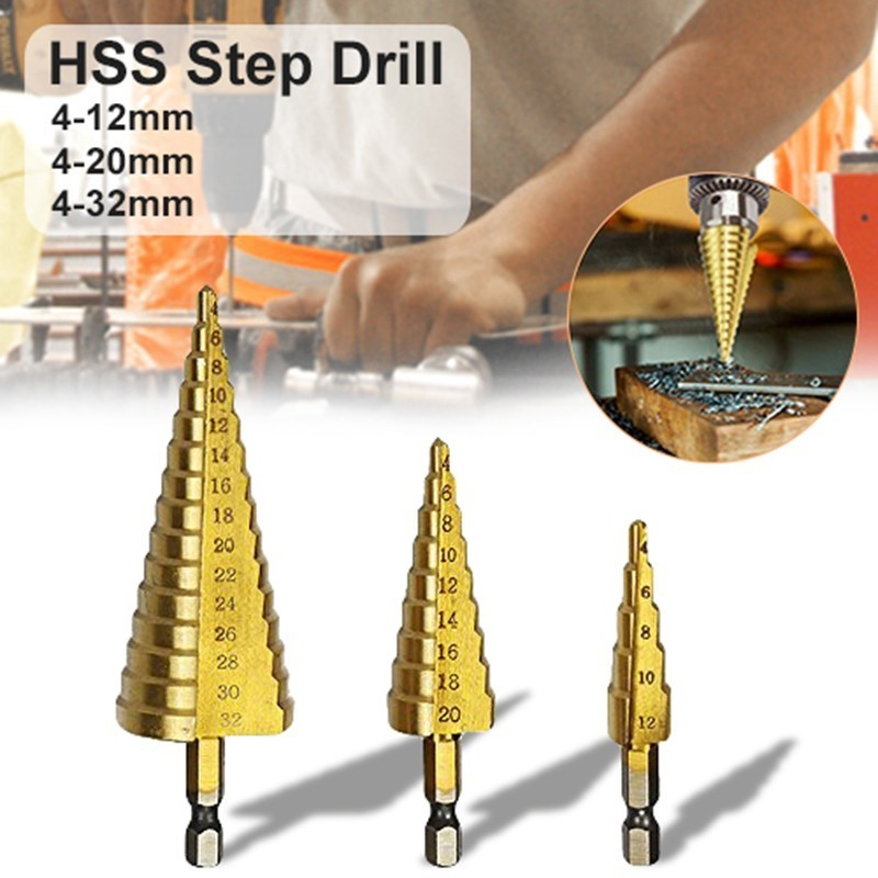 Hexagonal Handle Step Drill HSS Titanium Coated Step Drill Bit For Metal 4-12mm 4-20mm 4-32mm High Speed Steel Wood Drilling DIY jigong 3pcs set titanium step drill bits hss power tools high speed steel hole cutter wood metal drilling 3 12mm 4 12mm 4 20mm