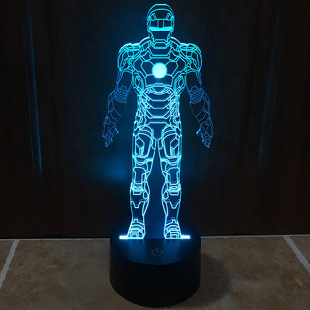 Home Decorative Night Light Creative Led 3 D Visual Fantasy Light Romantic Ironman Robot Atmosphere Table Lamp Best Gifts