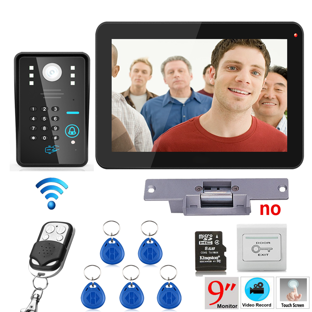 ENNIO 9 inch RFID Password Recording Video Door Phone Intercom 900TVL Kit Wireless Remote Control Unlock