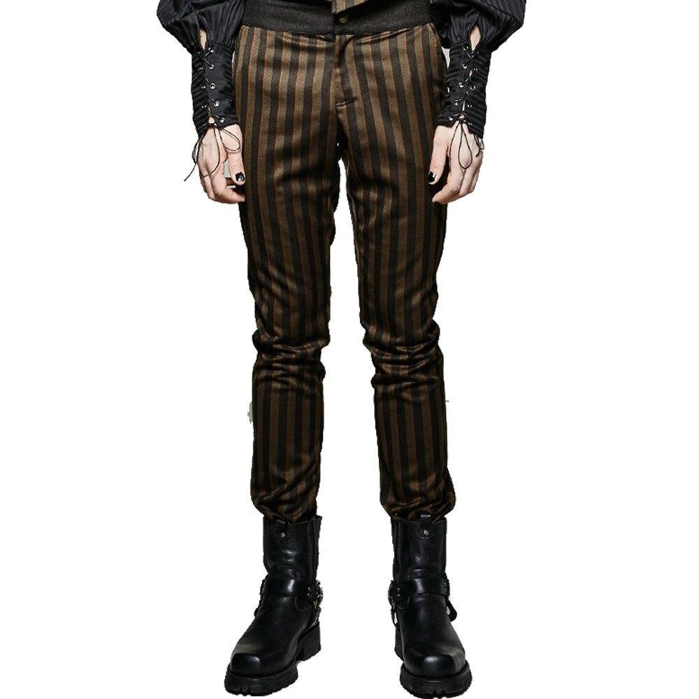 Punk Gothique Palais Noble Hommes de Costume Pantalon Long Steampunk Mince Café Rayé Pantalon Bureau D'affaires Pantalon Occasionnel des Hommes