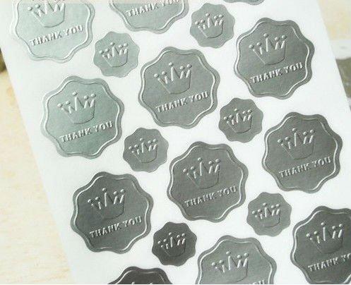 Wedding Silver Embossed Foil Wedding Invitation Envelope Seals Sticker 23pcs Sheet 40 Sheets