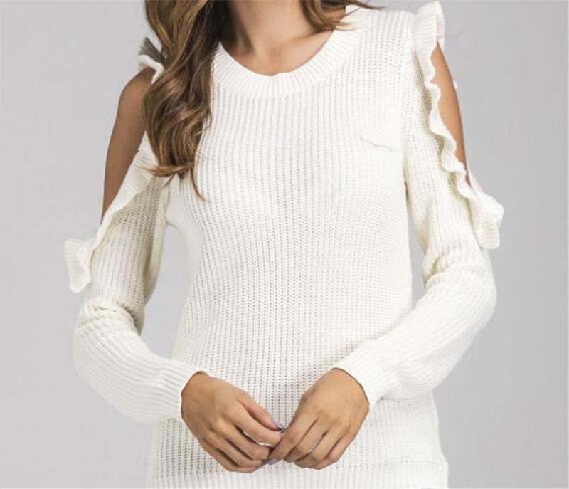 Elegant Cold Shoulder Knitted Sweater Women Jumper Casual Long Sleeve 93601