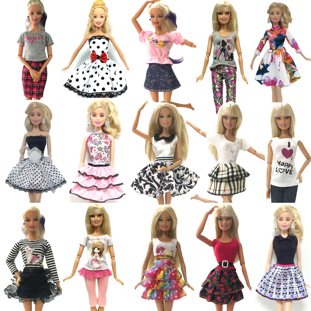 NK 10 Set/Lot Randomly Mix Style Doll Dress Beautiful Party Clothes Top Fashion Dress For Barbie Doll Girls' Gift DZ