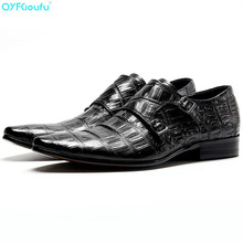 QYFCIOUFU New Pointed Toe Formal Shoes Men Dress Shoes Fashion Buckle Straps Wedding Shoes Men Slip On Genuine Cow Leather Shoes
