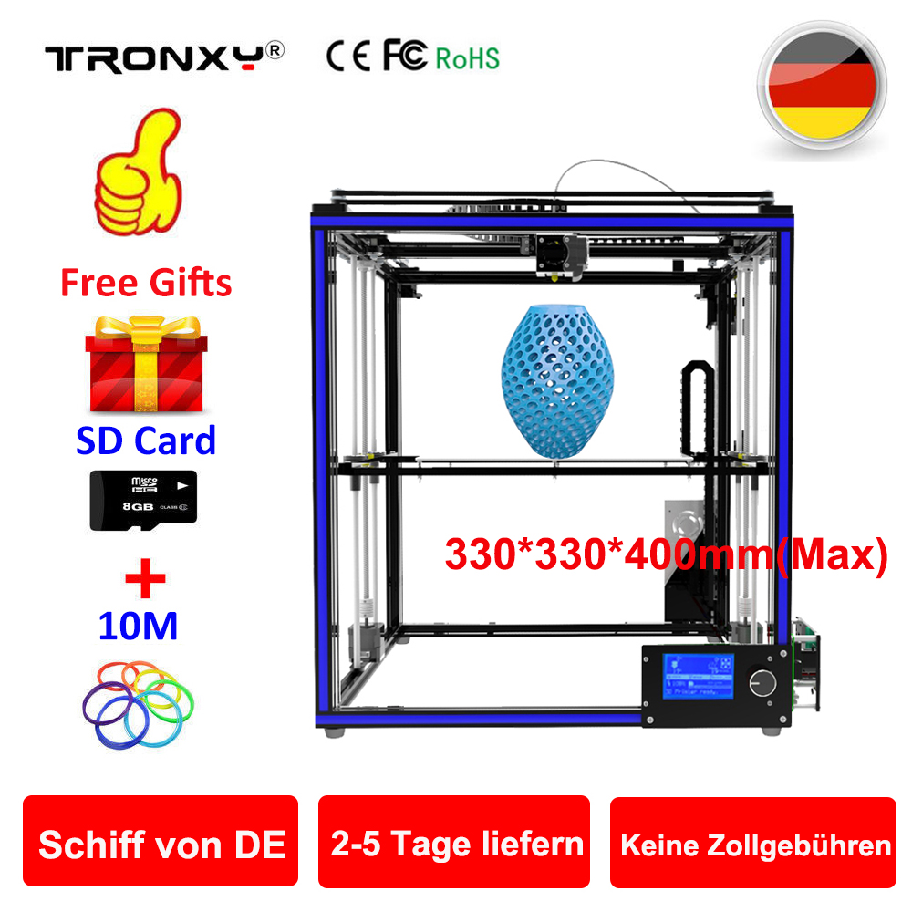 Tronxy X5S Large 3D Printer Double Z Axis Design High Precision diy kit LCD 3d printing Large Size 330*330*400mm(Max) 3D Printer new 3d touch auto bed leveling sensor for 3d printer improve printing precision 3dprinter replacement repair parts tool set kit