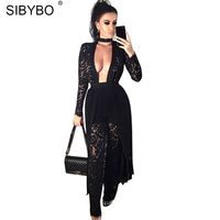 Sibybo Sexy Rompers Womens Bodysuit 2017 Fashion Long Black Lace Body Club Party Jumpsuits For Women