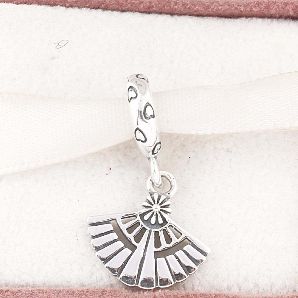 ZMZY Vintage Heart Fan 925 Sterling Silver Charms Fits Pandora Charm Bracelet DIY Making Women Jewelry