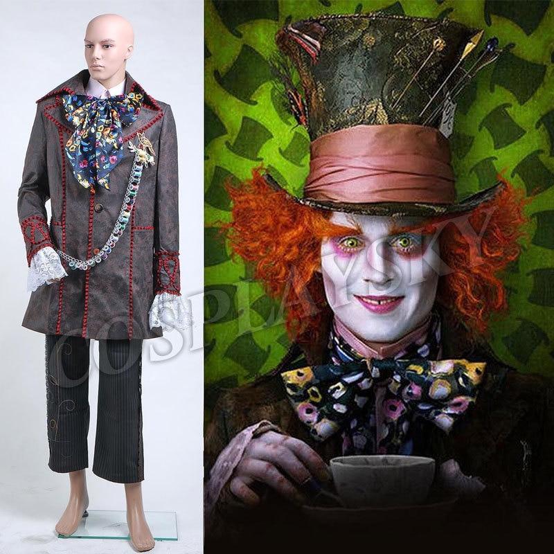 Alice in Wonderland Johnny Depp Mad Hatter Cosplay Costume Full Set