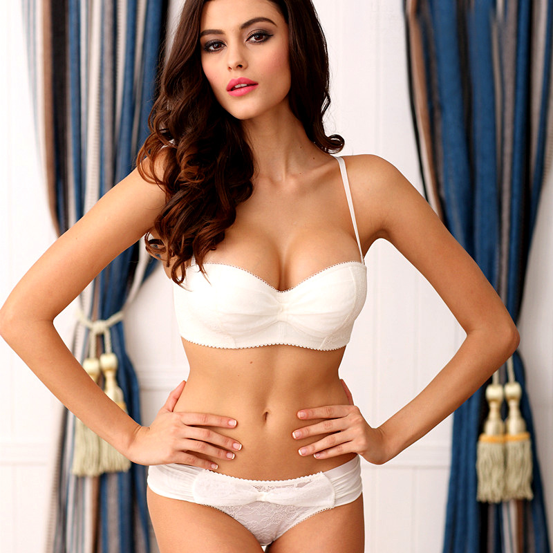 Bow   Bra     Set   1/2 Cup Underwer   Set   Women Sexy Lingerie   Set   Push Up   Bra     Brief     Set   Adjustable Brassiere soutien-gorge ensemble 8126