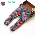 New Fashion flower baby girls jeans Printing denim pants Design children full length pants for girls 2-7 years