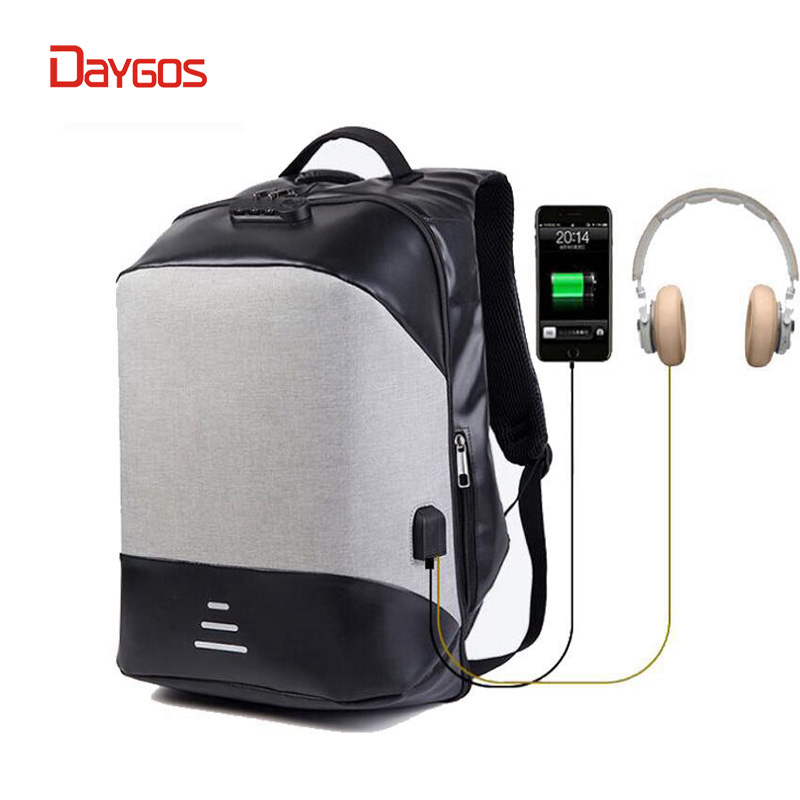 DAYGOS Men Multifunction Anti-theft 15.6' Laptop Backpack USB Charging waterproof Travel Backpack school bag Combination Lock yulo men s laptop backpack patchwork backpack anti theft multifunction usb charging men s waterproof travel bag