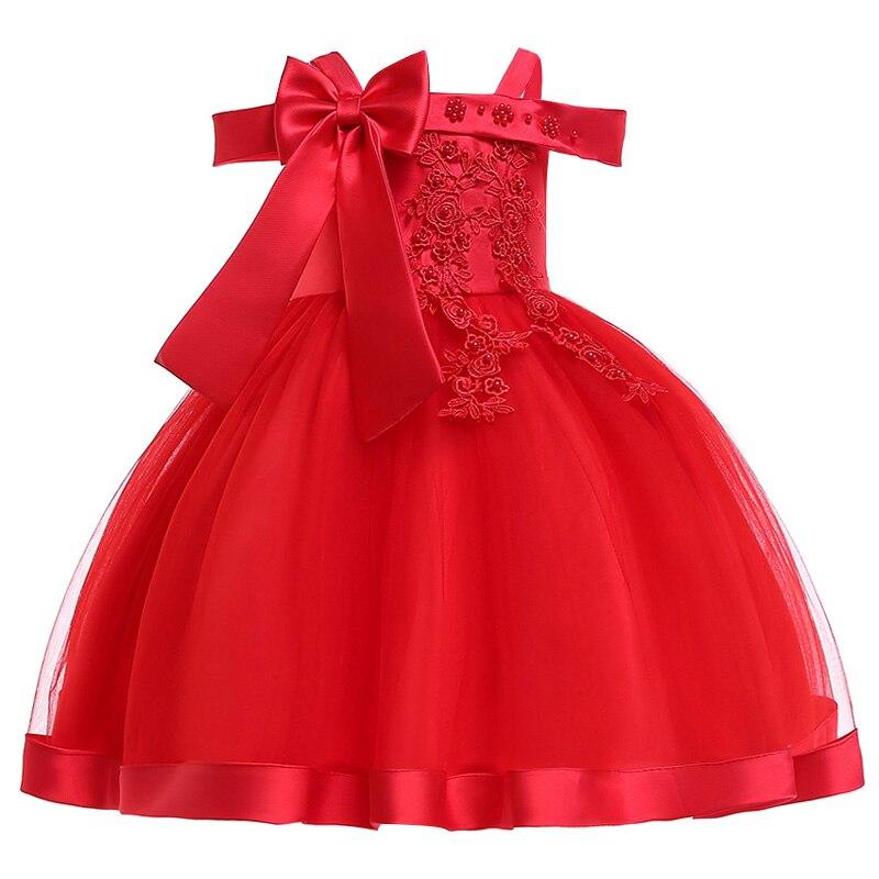 Новинка; стильное платье на бретельках с одним персонажем для свадебной вечеринки для девочек; бальное платье с бантом и жемчужинами и цветами для банкета; vestidos - Цвет: red