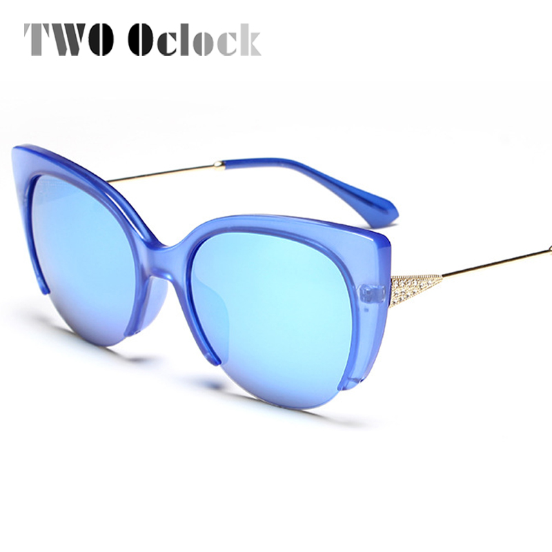 9bdc47c7b0 TWO Oclock Vintage Ladies Cat Eye Sunglasses Women Brand Designer Mirror Sun  Glasses Cateye Sunglases Oculos lunette femme 78111