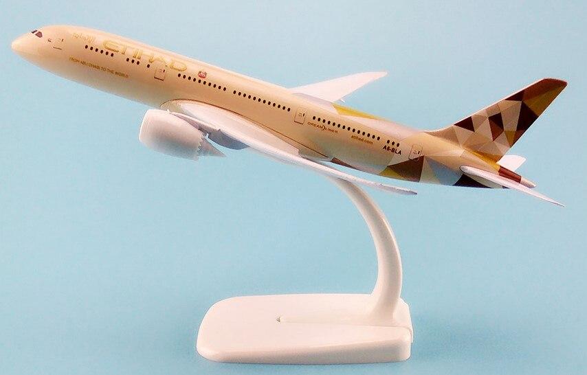 30 CM alliage métal avion modèle Air Etihad Airways Boeing 787 B787 Airlines avion modèle w Stand avion cadeau