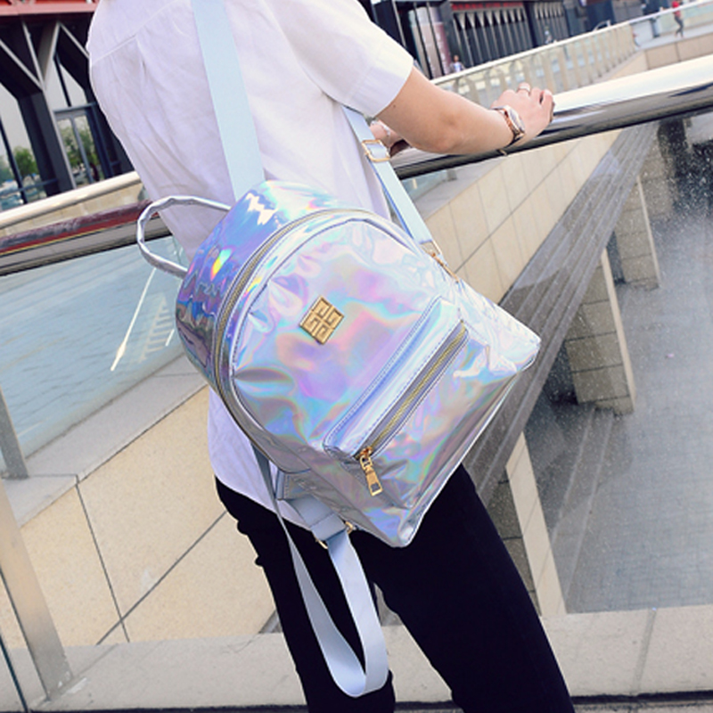 50pcs/lot Silver Hologram Laser Backpack School Bag For Teenage Girls PU Casual Shiny Students Book Bag Travel Backpack