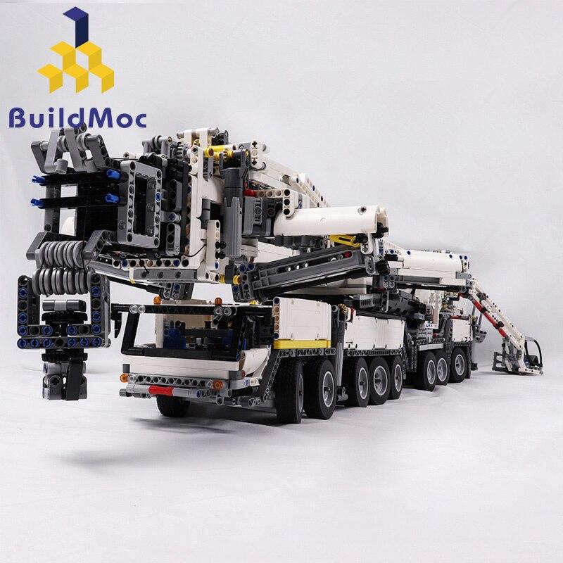 BuildMOC New Power Gru Mobile BuildingLTM11200 RC Liebherr Technic Kit Motore Blocchi di Mattoni Regalo di compleanno C104