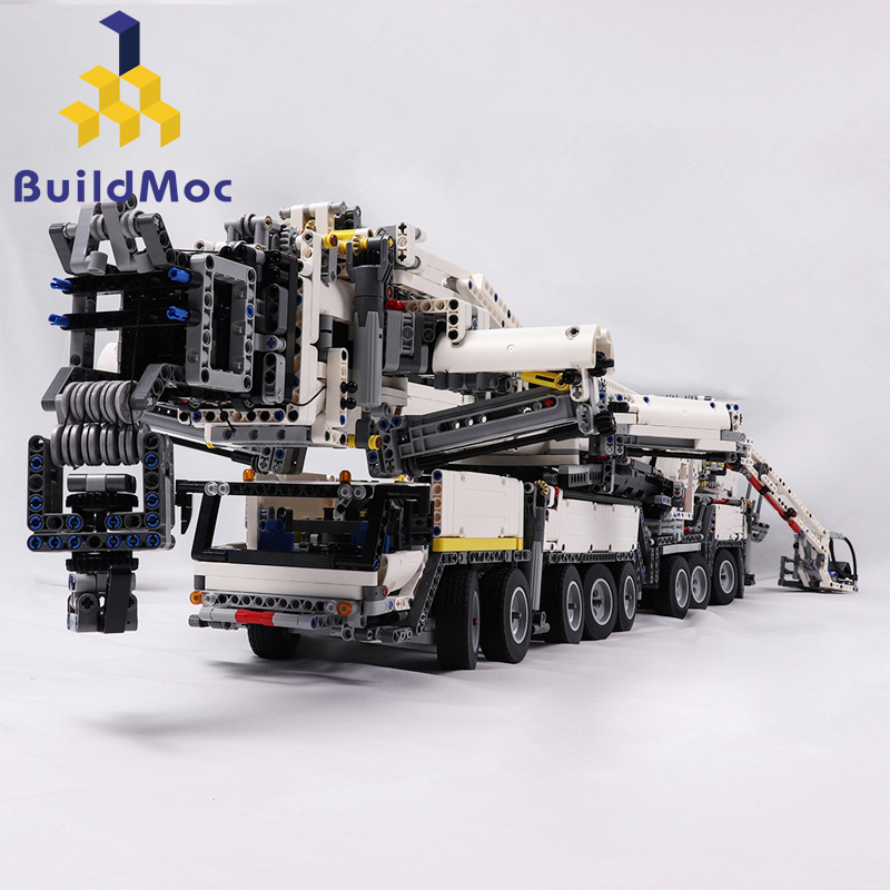 BuildMOC nueva grúa móvil de potencia BuildingLTM11200 RC liebherry Kits de Motor técnico bloques de regalo de cumpleaños C104