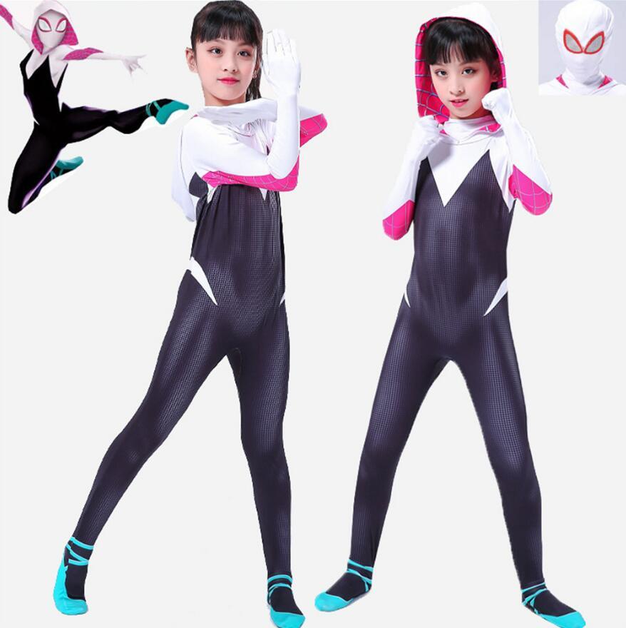 New Spider Gwen Stacy Spandex Lycra Zentai Spiderman Costume For Halloween Mask Cosplay Women Female Spider Suit Anti-Venom Gwen