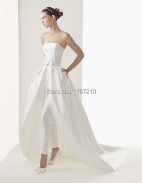 2017 Newest Style High Low Wedding Dresses With Trousers Inside Strapless Backless Bridal Gowns Y Bride