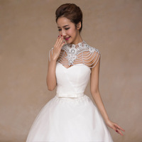 JaneVini Fashion Pearl Bridal Necklace White Lace Flowers Crystal Shoulder Chain 2018 Pageant Prom Wedding Shoulder Wrap Jewelry