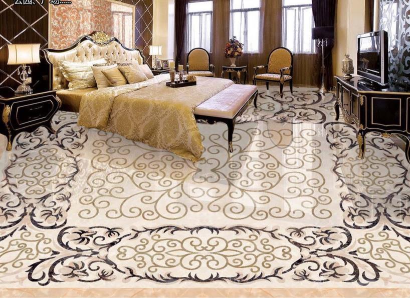 ФОТО 3D flooring 3d stereoscopic wallpaper marble mosaic vinyl flooring adhesive waterproof 3d floor painting wallpaper