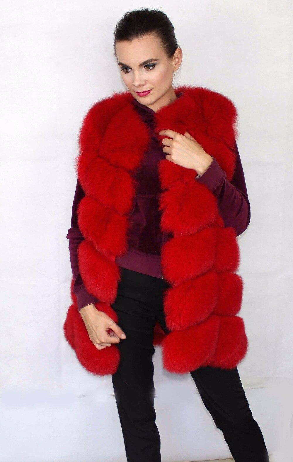 Linhaoshengyue 73 см длинные Высокое качество меха лисы Жилет натуральным лисьим мехом женские жилет