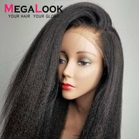 Megalook Kinky Straight Human Hair Lace Front Wigs with Baby Hair Yaki Natural Color Remy Hair Wig 12 34 inch 13x4 Peruvian wig