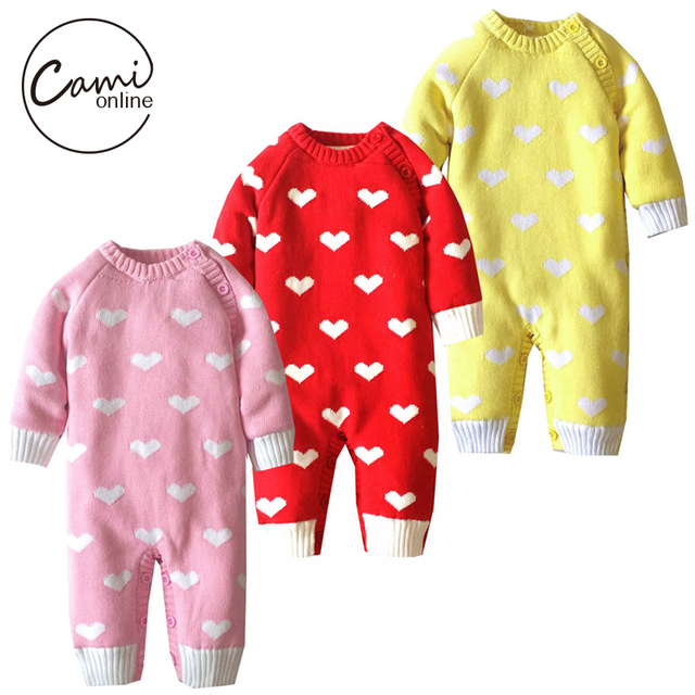 922a3ef0ca718 Baby Coral Fleece Sweater Romper Kids Thicken Clothes Newborn Infant Soft  Warm Jumpsuit Cute Heart Print Thermal Outwear-in Rompers from Mother & Kids