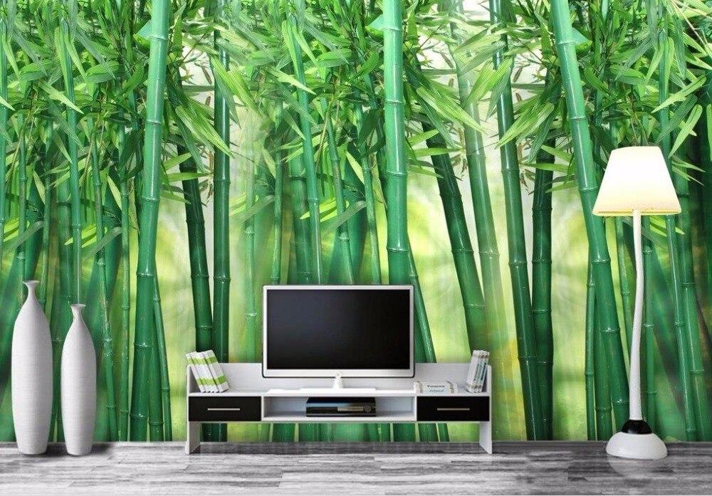Online get cheap wallpaper bamboo for Bamboo forest mural wallpaper