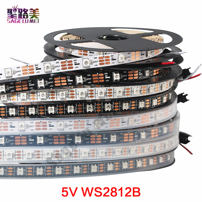 1 m / 5 m DC5V secara individual dialamatkan ws2812b strip dipimpin, ws2811ic Built-in 30/60/144 piksel, smart rgb led light tape ribbon IP67