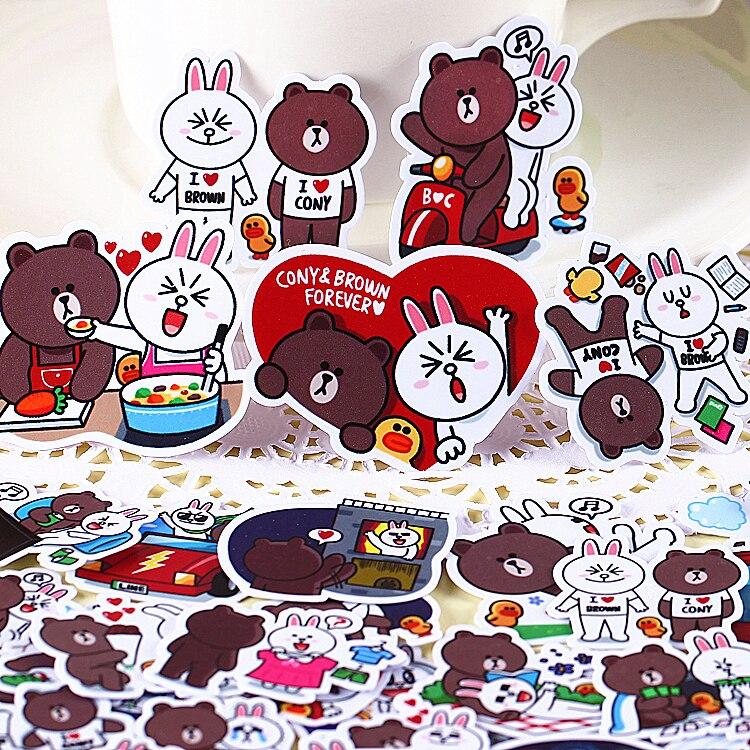 96pcs Creative kawaii self-made Brown bears  jini rabbit dating beautiful stickers /decorative sticker /DIY craft photo albums настенная плитка mainzu craft brown 20x20