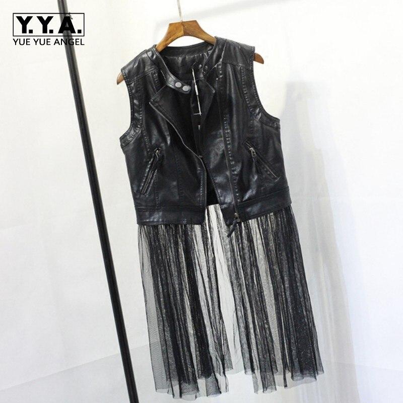 2019 Autumn New Fashion Black Vogue Splice Mesh Pu   Leather   Jacket For Women Colete Feminino Casacos Chaqueta Mujer Cuero Costume