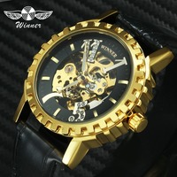 WINNER Top Brand Luxury Watch Men Auto Mechanical Skeleton Movement Golden Gear Bezel Big Crystal Index Fashion Dress Wristwatch